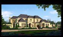 蓝天白云草地与房子
