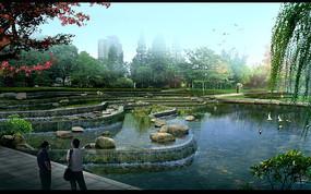 美丽的水池效果图
