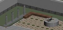 石磨拴马桩3d模型