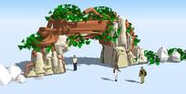 探险生态园入口su模型