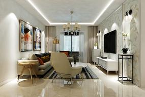 现代北欧风格客厅装修效果图