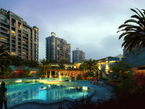 小区室外游泳池景观效果图 JPG