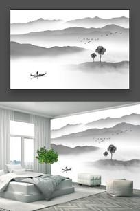 禅意水墨山水画背景墙
