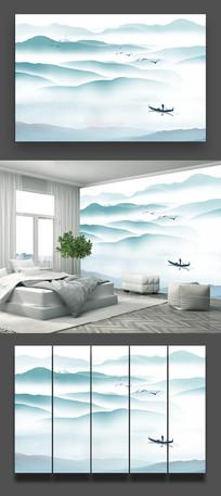中国风水墨山水画背景墙装饰画