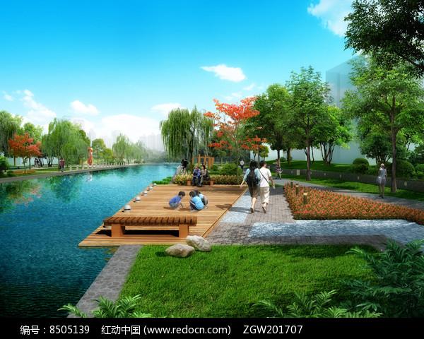 猪笼河滨水带景观效果图图片