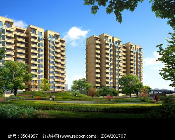 住宅楼与草地树木景观图片