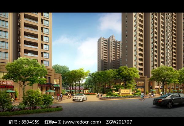 住宅楼与小区入口景观效果图图片