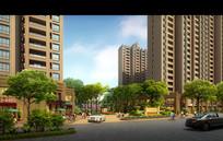 住宅楼与小区入口景观效果图