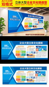 蓝色企业文化墙模板