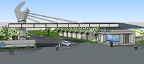 产业园区大门入口su模型 skp