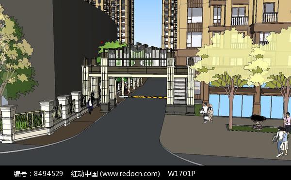 高层住宅区入口su模型图片
