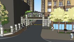 高层住宅区入口su模型