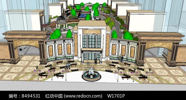 高级住宅区入口su模型图片