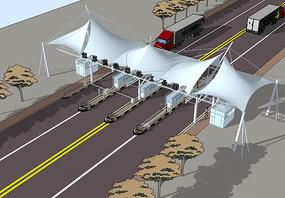 高速收费站入口su模型