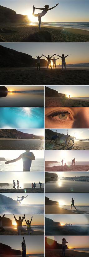 瑜伽健身锻炼海边夕阳视频