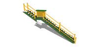 绿色金属护栏楼梯模型