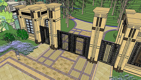 欧式别墅区入口大门su模型
