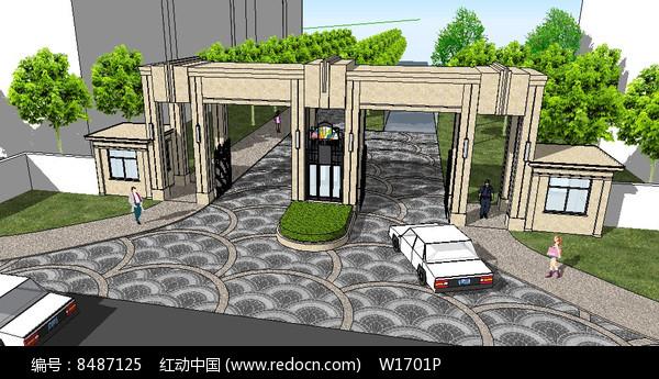 欧式住宅区入口岗亭su模型图片