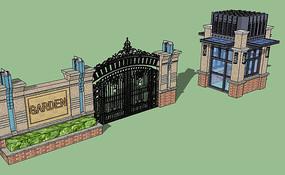 欧式住宅入口su模型