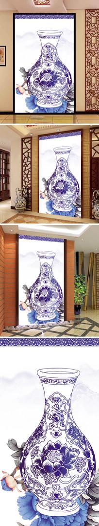 青花瓷花瓶牡丹玄关背景墙