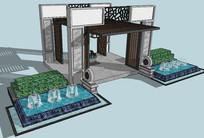 新中式建筑入口门厅su模型