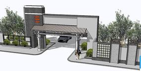 新中式建筑入口su模型