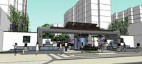 新中式住宅区入口su模型