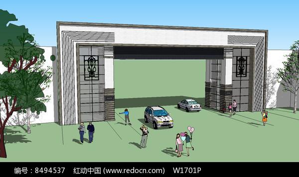 新中式住宅区入口su模型图片