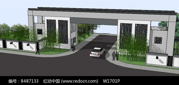 新中式住宅入口su模型图片