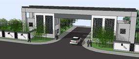 新中式住宅入口su模型