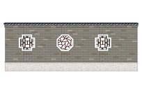 中式多风格窗洞围墙模型