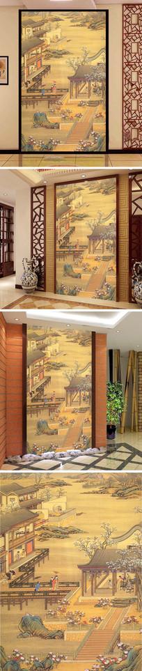 中式宫廷楼阁人物玄关背景墙