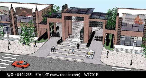中心住宅区入口大门su模型图片
