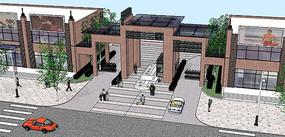 中心住宅区入口大门su模型