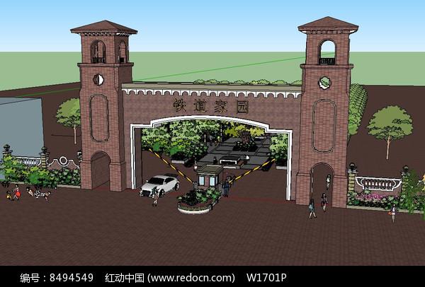 住宅区入口景观su模型图片