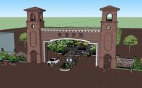 住宅区入口景观su模型