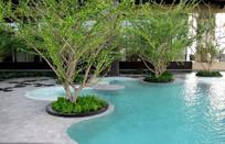 淡蓝色曲型水池