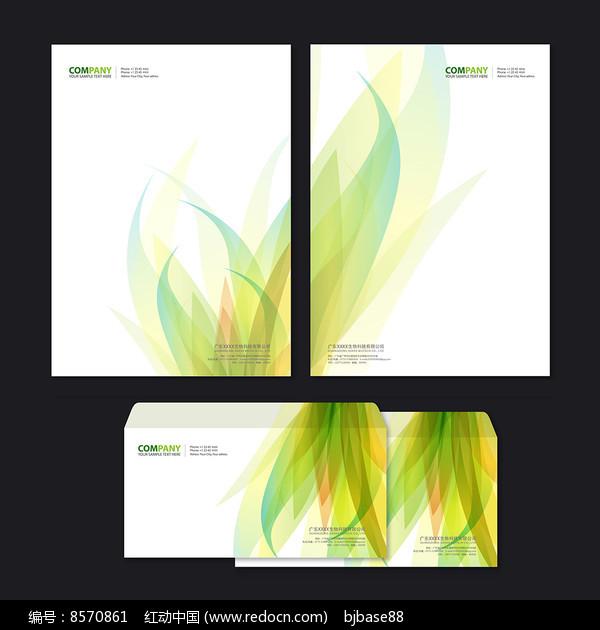 绿色花纹信纸信封设计图片