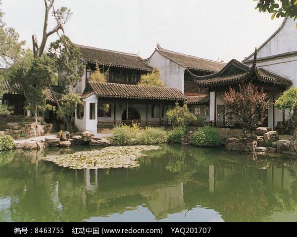 园林河边古建筑 图片