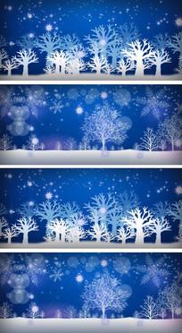 大约在冬季卡通雪花纷飞漫步