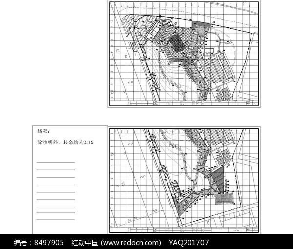 黄埔区某公园景观尺寸定位图图片