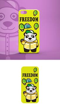 卡通动物形象手机壳插画图案