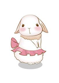 可爱的卡通小动物兔的矢量插画 AI