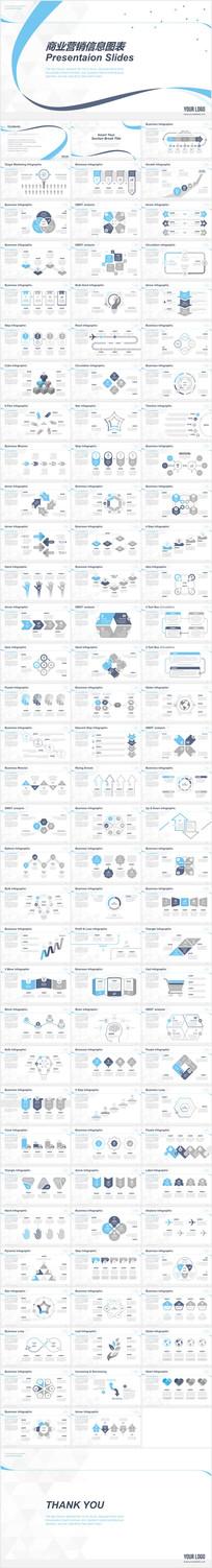 蓝色信息图表总结商务PPT