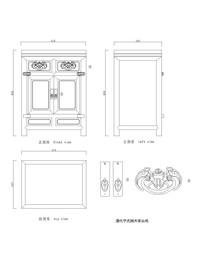 清代宁式楠木床头柜CAD dwg
