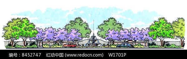原创设计稿 方案意向 手绘素材 入口喷泉景观立面手绘效果