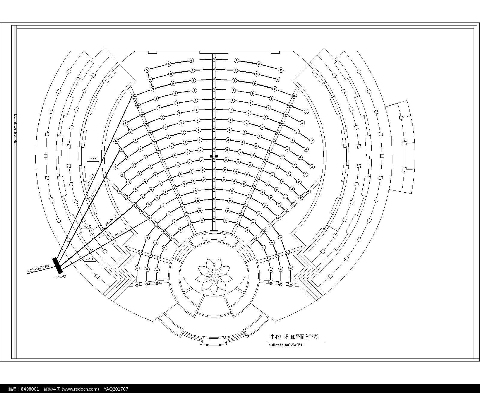 中心圆形广场led平面布置图dwg素材下载_cad总平设计