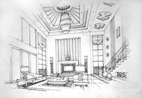 别墅客厅设计手绘线稿