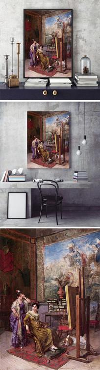 贵族少女油画装饰画