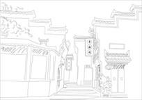 古街线描插画素材 CDR